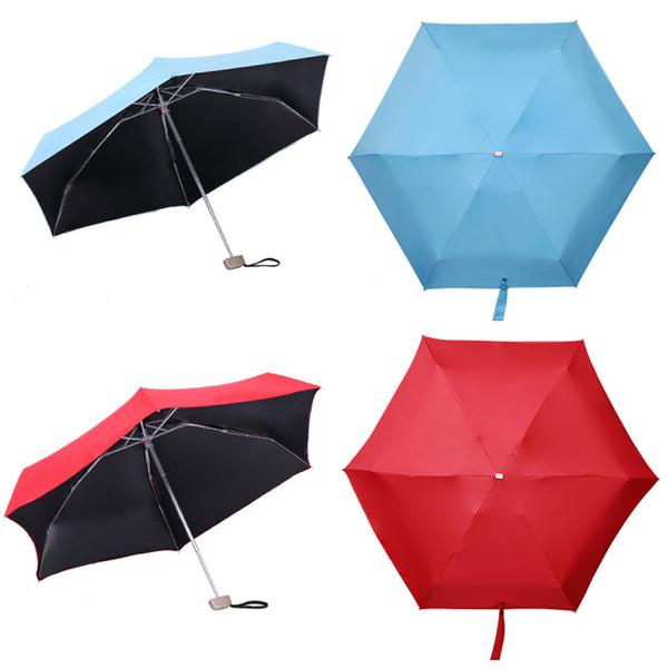 Mini Compact Sun Rain Travel Umbrella Paraguas portátil ligero con 95% de protección contra la radiación UV Venta