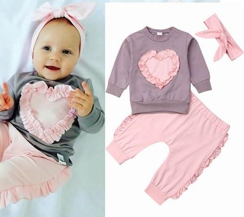 2019 sevgililer günü kız bebek butik kıyafetler bebek saç bantlarında kalp tişörtleri pantolon 3adet yürümeye başlayan çocuk giyim setleri fırfır elbise kız düşmek