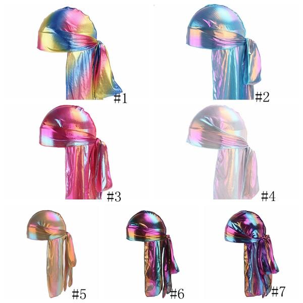 Лазерная Пиратские шляпы Имитация Шелковый длинный хвост шапки женщин головные уборы модные мужские атласные Бандана Тюрбан париков Hip хмель Cape Hat GGA2939-1