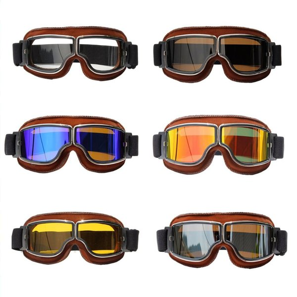 Vintage Goggles Motorcycle Leather Goggles Glasses Retro Motocross Windproof Helmet Goggle Glasses