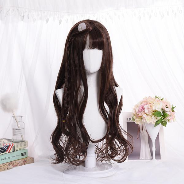 обслуживание корейский длинный рулон парик воздуха челка парик парик COS окрашенный завод пятно оптом