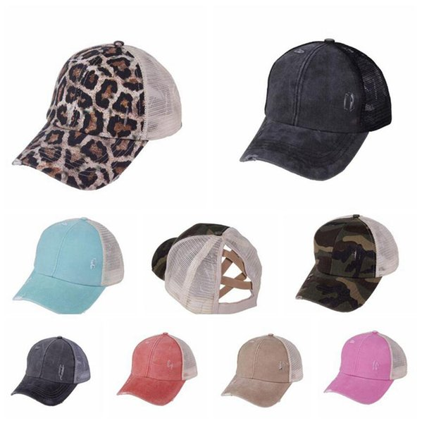 best selling Hole Ponytail Baseball Hat 18 Colors Washed Cotton Baseball Cap Summer Breathable Mesh Running Hat Beach Girls Snapback OOA8095