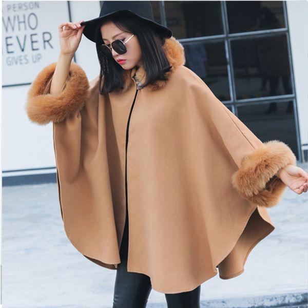 2018 Autumn Winter Outerwear Fashion Batwing Sleeve Faux Fox Fur Collar Cloak Cape Coat Women's Elegant Poncho Long Overcoat