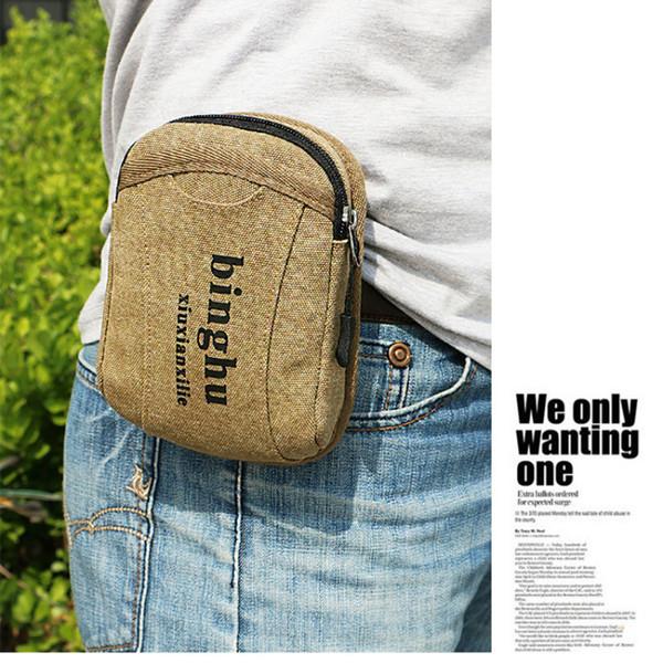 BYCOBECY 2019 Hüfttasche Minuskel Drucken Tragen Gürteltasche Outdoor-Sport-Mann-Gürteltasche Canvas Verschleißfeste Telefon Hüfttasche
