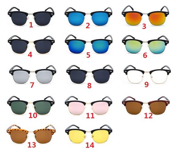 2019 New Fashion Retro Half Frame Flash Mirror Lens women men Club Master Sunglasses outdoors driving glasses