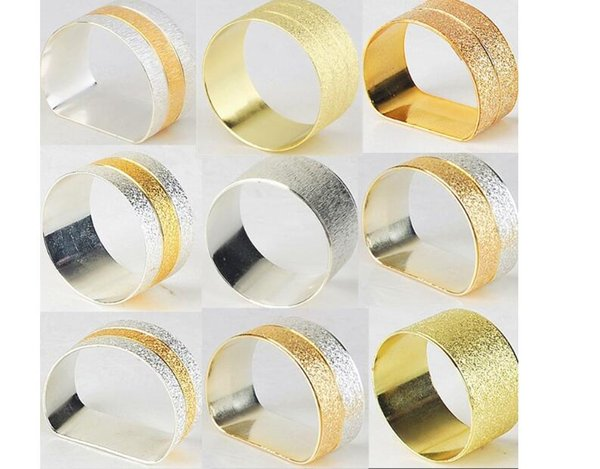 Fashion Golden Towel Ring Napkin Button Tiequan Silver Double Line Wholesale Flower Napkins Ring Napkins Mixed Batch Manufacturers Wholesal