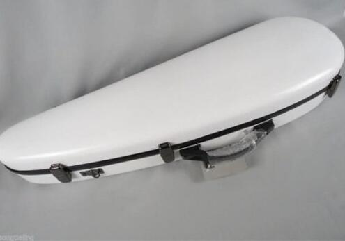 Nice Wharncliffe shape white color hardglass fiber violin case,2 bow holders