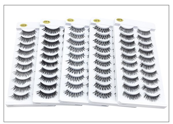 Natural long thick synthetic hair false eyelashes 10 pairs set reusable fake lashes 5 styles available DHL Free eyelashes extensions