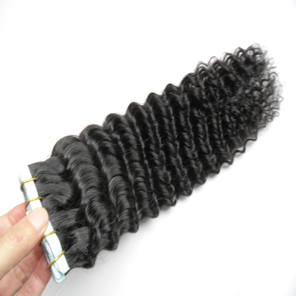 grade 7a unprocessed virgin brazilian deep wave tape hair extensions natural black pu skin weft tape in human hair extensions 40pcs/lot