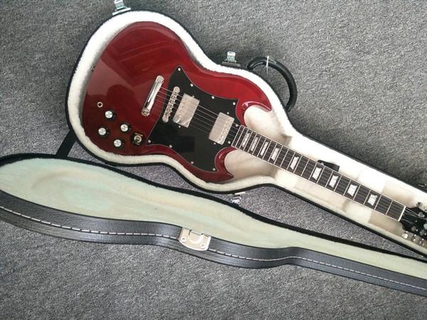 guitarra roja vino de alta calidad SG guitarra eléctrica, cromo hardware de caoba maciza, palisandro, una pieza de cuello