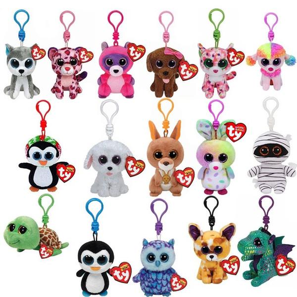 "300PCS Ty Beanie Boos Big Eyes Plush Keychain Toy Doll Fox Penguin Giraffe Leopard Monkey Dragon 4"" 10cm"