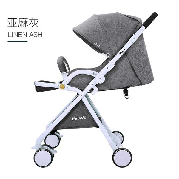 O carrinho de bebê de duas vias é leve e alto, e a visão pode ser dobrada em um carro de guarda-chuva stokk