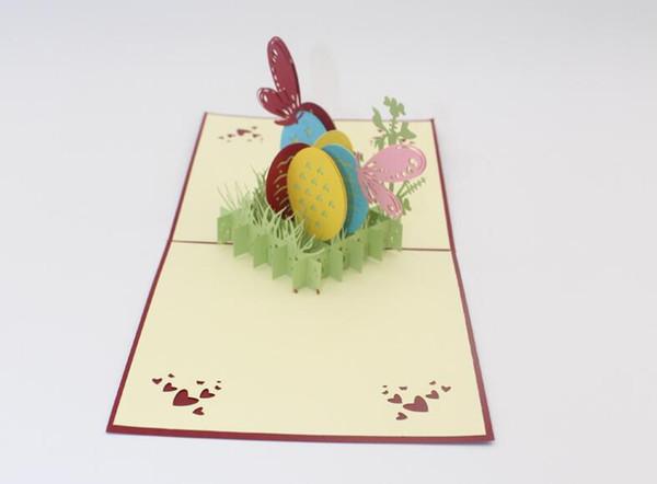 Paskalya Festivali 3D Pop Up Kart Hollow Paskalya Yumurtası Kelebek Tebrik Kartı Nimet Kartları Yaratıcı Hediye