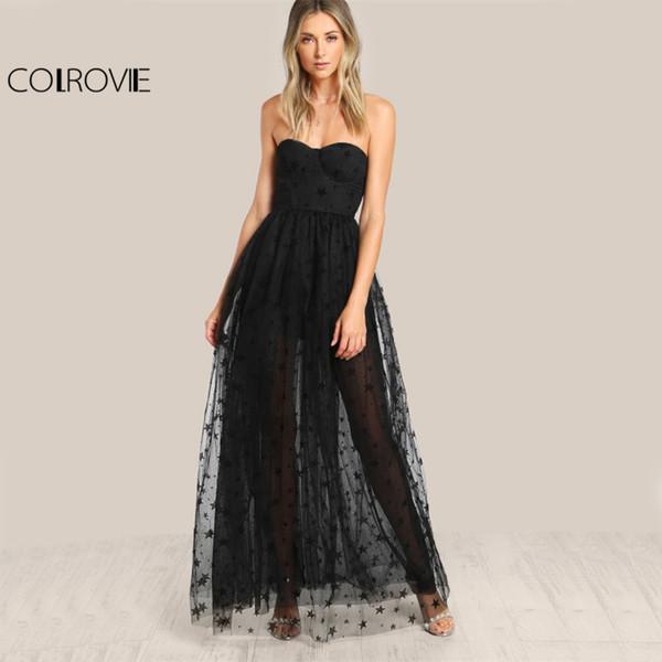 b0f693de58ba2 wholesale Black Sexy Bustier Party Dress Star Flock Cute Women Mesh Overlay Maxi  Summer Dress Strapless