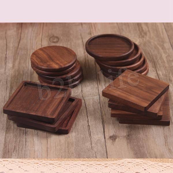 Wooden Coasters Black Walnut Cup Mat Bowl Pad Coffee Tea Cup Mats Dinner Plates Kitchen Home Bar Tools MMA2903-5