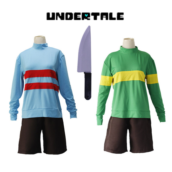 Halloween Costumes Game Undertale Chara Frisk Cosplay Costumes Green Blue  Sportswear Top Pants Knife Included Full Set Halloween Costumes Kids Anime