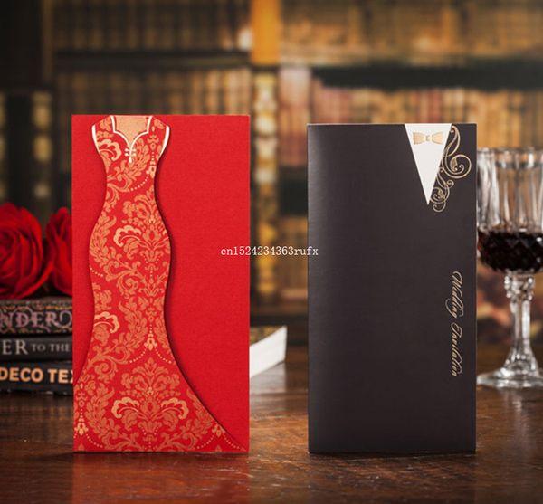 Biglietti d'invito di stile cinese rosso 3D Decorazioni di nozze di invito di carta inviti di nozze di chiesa