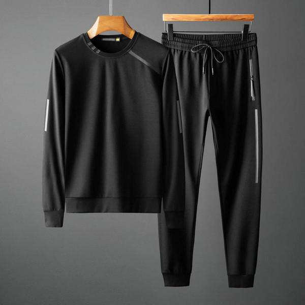 ice55 uomini di modo sportivo con cappuccio e felpe Nero Autunno Inverno Jogger sportive Tute tuta Tute Set 9022