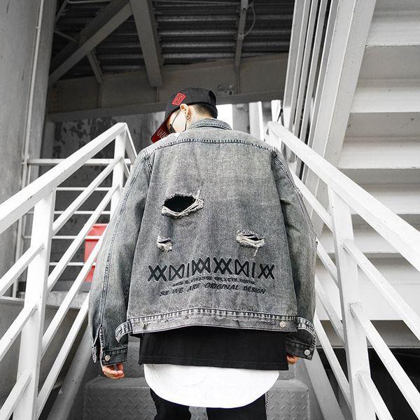 Erkek Tasarımcı Ceket Denim Yüksek Sokak Marka Erkek Kadın Ceketler Işlemeli Harfler Yıkama Su Delik Ile Sıkıntılı Stil Denim Ceket