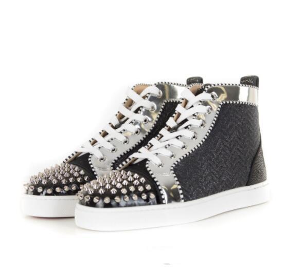 Высокое качество женщины мужчины кроссовки Роскошные дизайнерские квартиры обувь Красный Нижняя обувь для Партии любителей свадьбы натуральная кожа повседневная высокая верхняя Sneake