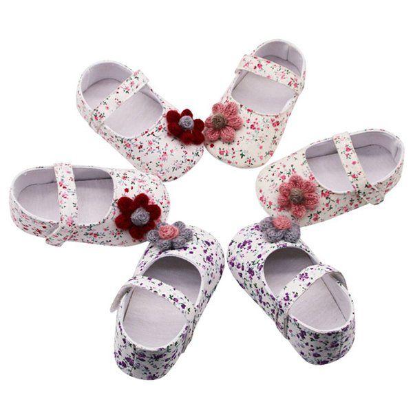 Baby Shoes Baby Girl Breathable Floral Print Anti-Slip Shoes With Flower Casual Sneakers Toddler Soft Soled First Walkers 0-12M