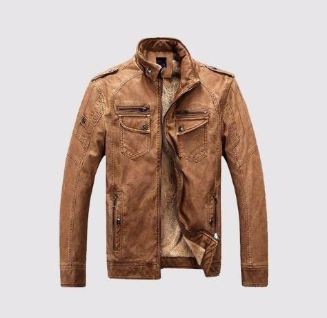 2019 Mens Wash Leather Jackets Winter Fleece Plus Thick Warm Coat Biker Motorcycle Male Classic Jacket Top Quality