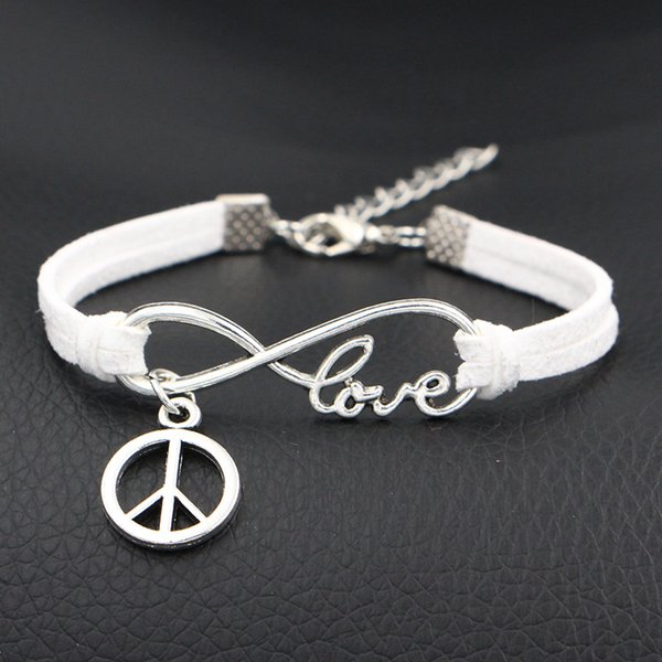 2018 New Fashion Charm Jewelry New Design Silver Infinity Love Peace Round Sign Bracelet For Women Men White Leather Suede Wrap Cuff Bangles