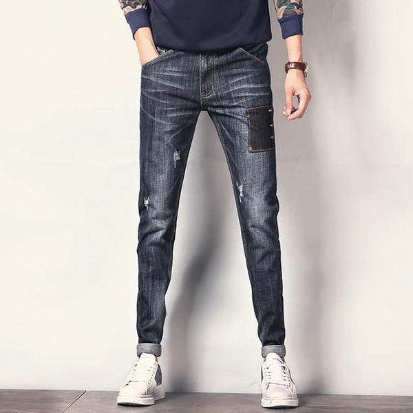 Wholesale- Nice Fashion Brand Ripped Jeans Men Denim Pants Big Size 50 Black Skinny Jeans Male Patch Stretch Korean Slim Pencil Men Jeans