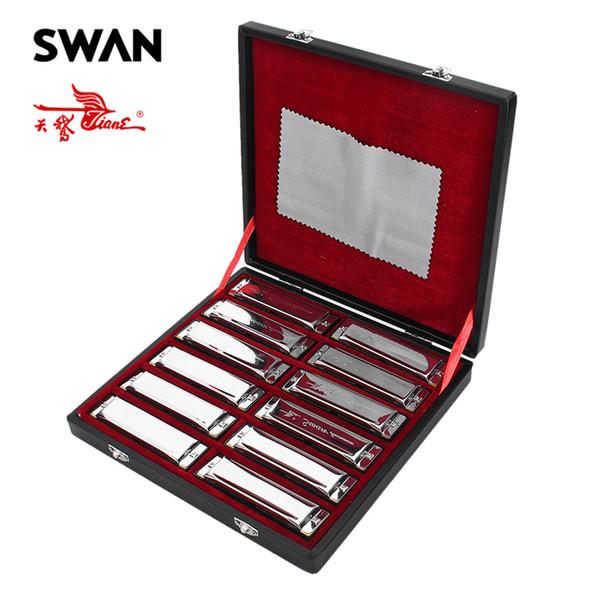 Swan 12PCS / Set 10 trous Blues Harmonica Set 12 touches ABCDEFG Ab Bb Db Eb Gb Instruments De Musique Claviers En Diatonique SW1020-12T