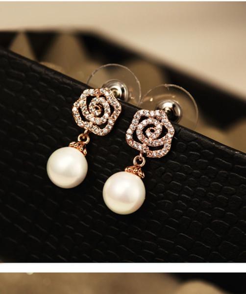 Wholesale-ashion designer diamond super glittering camellia elegent pearl pendant stud drop dangle earring for woman girls