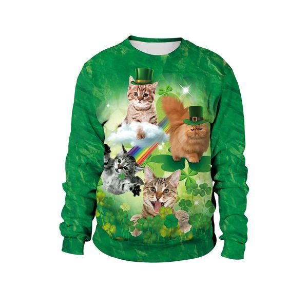 Mens white designer hoodie sweatshirt sweat coat pullover jackets hot new Irish festival theme cute cat cute pet print hooded sweater