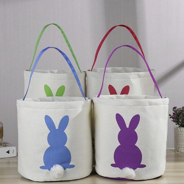 Easter Rabbit Basket Easter Bunny Bags Rabbit Printed Canvas Tote Bag Egg Candies Baskets 4 Colors 50pcs