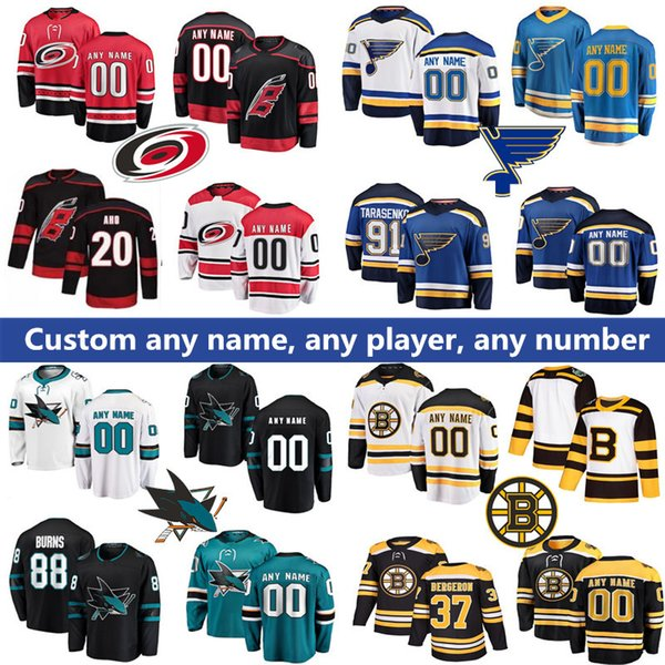 60cb5bcdf7c Custom 2019 Carolina Hurricanes Jersey 20 Sebastian Aho San Jose Sharks 8  Joe Pavelski Boston Bruins St. Louis Blues Hockey Jerseys