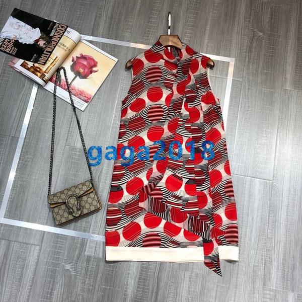 High-end Women's girls Short silk dress with bow summer SLEEVELESS round neck slim A-LINE dress with prints shirt Back zip GEOMETRIC dress
