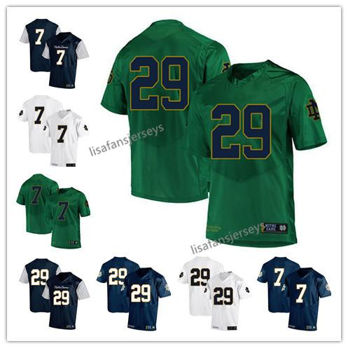 Mens Notre Dame Fighting Irish Jerseys 7 Brandon Wimbush 29 Kevin Stepherson 2019 Navy White Green USA Flag College Football NCAA Jersey