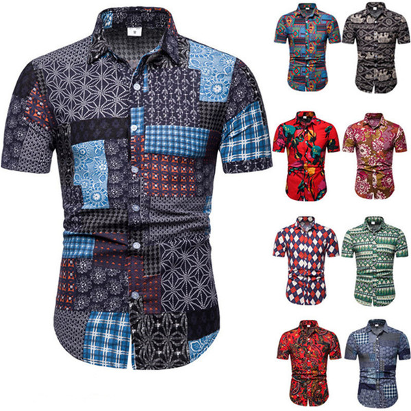 Mens Floral Print Shirt Male Loose Summer Short Sleeve Tops Europe Men Festival Clothing Casual Button Shirts Plus Size 5XL Turn-down Collar