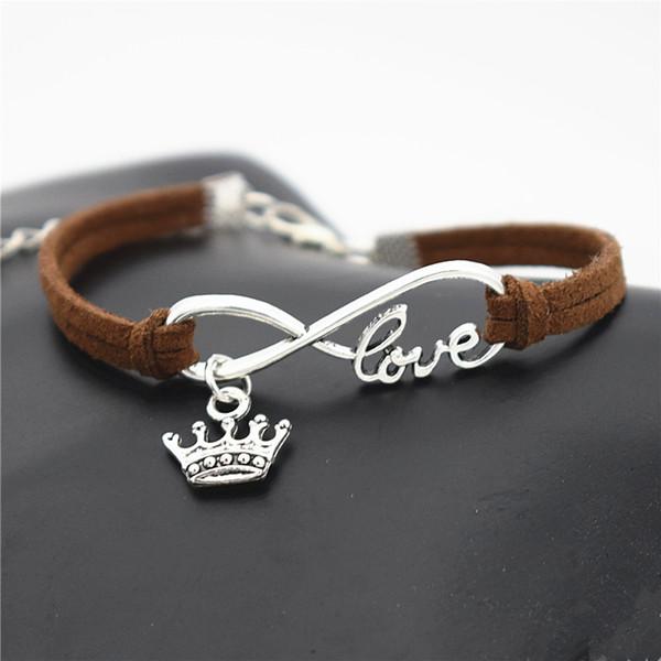 Vintage Silver Metal Infinity Love Elegant King Crown Cuff Charm Bracelets & Bangles Handmade Dark Brown Leather Rope Women Men Jewelry Gift