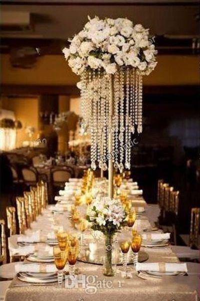 10pcs pro Los Gold Silber überzogene Hochzeits-Mittelstück-Acrylkorn-Stränge 60cm hoher Acrylkristallblumen-Standplatz für Hochzeits-Tabellen-Dekor