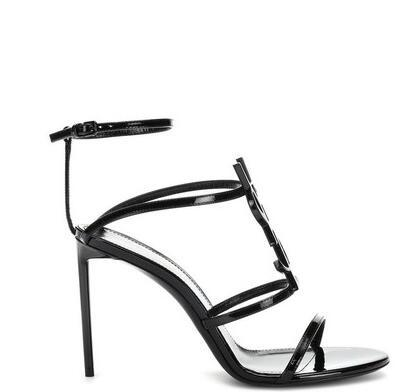 best selling Top quality 2019 luxury Designer style Patent Leather Thrill Heels Women Unique Letters Sandals Dress Wedding Shoes Sexy shoes 35-41