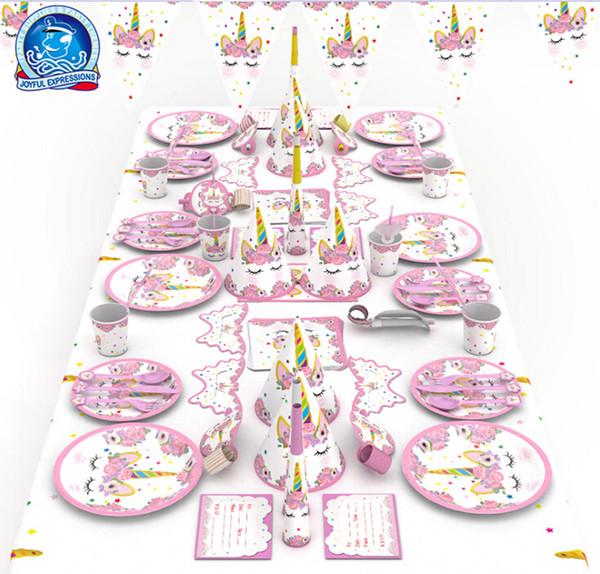 Set For Unicorn Party Decor Birthday Latex Balloons Unicorn Theme Paper Hat Napkins Plate Table Cloth Kids Happy Birthday Decor Set