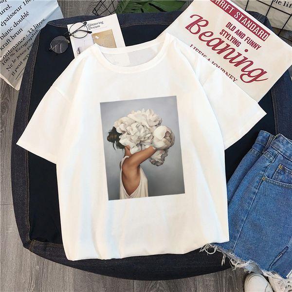 New Harajuku Aesthetics Tshirt Sexy Flowers Feather Print Short Sleeve Tops Tees Summer Fashion kawaii Casual Sweet Lady T-Shirt