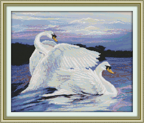 Two swans in the lake decor paintings ,Handmade Cross Stitch Embroidery Needlework sets counted print on canvas DMC 14CT /11CT