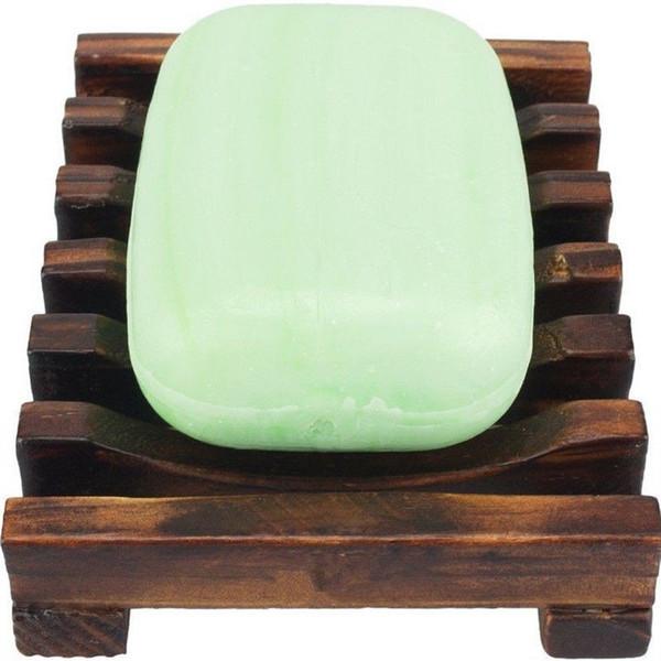 Jabonera de madera natural de madera Soporte de bandeja de baño Plato de ducha Baño Estante de jabón de bambú carbonizado