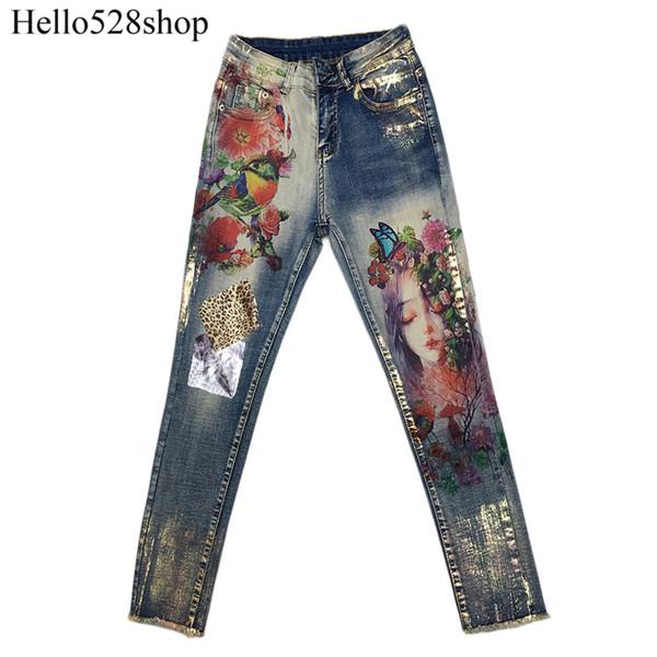 Mode Vintage Vintage À Manches Longues Imprimé Couleur Estampage Stretch Designer Jeans Pantalon Jeggings Maigre Peint Qualité Coton