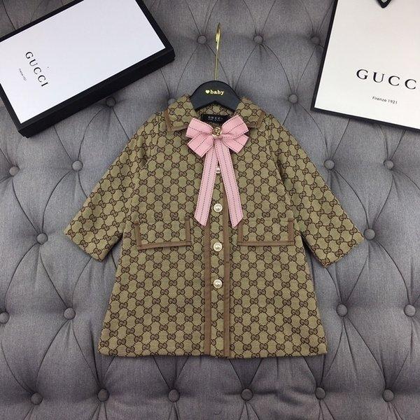 2019 Pure las muchachas del algodón de la chaqueta floja La nueva capa de las chaquetas de los niños patrón de la moda primavera y el otoño arco abrigo suelto 101612