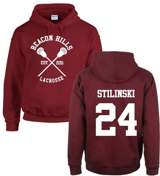 Fashion Teen Loupes Hoodies Beacon Hills Lacrosse Stiles Stilinski Sweat À Capuche Fille Garçon Adultes Polaire Sweat Maroon Unisexe