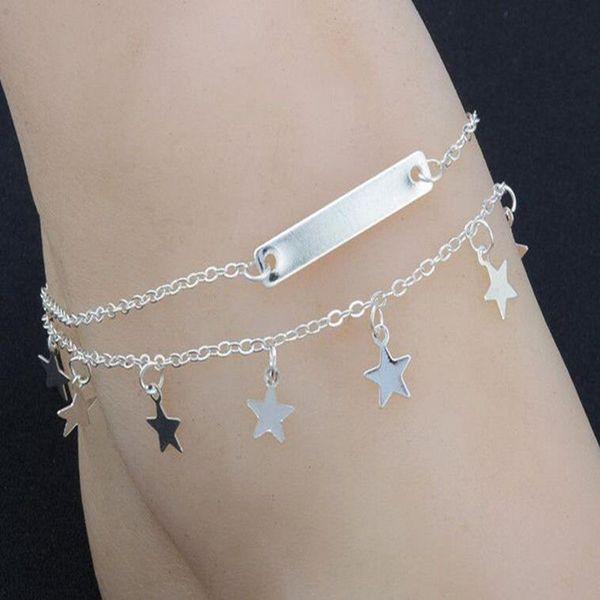 Multi Layer Summer Star Bracelet Anklet Foot Chain Summer Yoga Leg Bracelet Sequin Charms Beach Jewelry Women Fashion Pentagram Boho Gifts