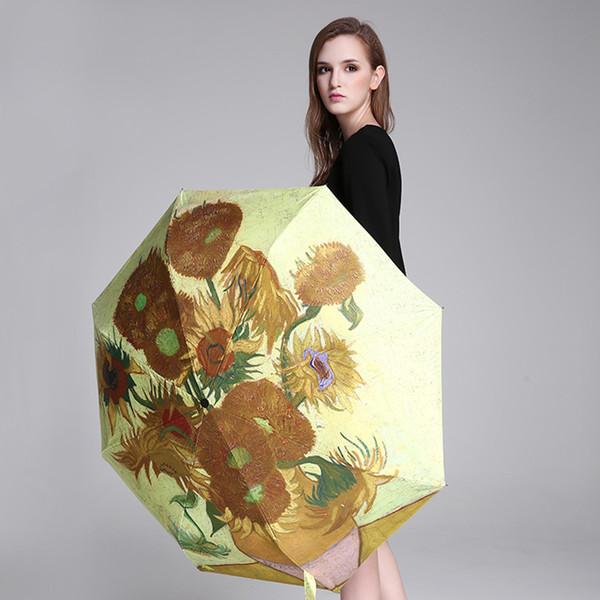 Sunflower Paint Art Rain Sun Umbrella Women Van Gogh Umbrella Oil Painting High Quality Paragua Painting Umbrellas Creative 5130