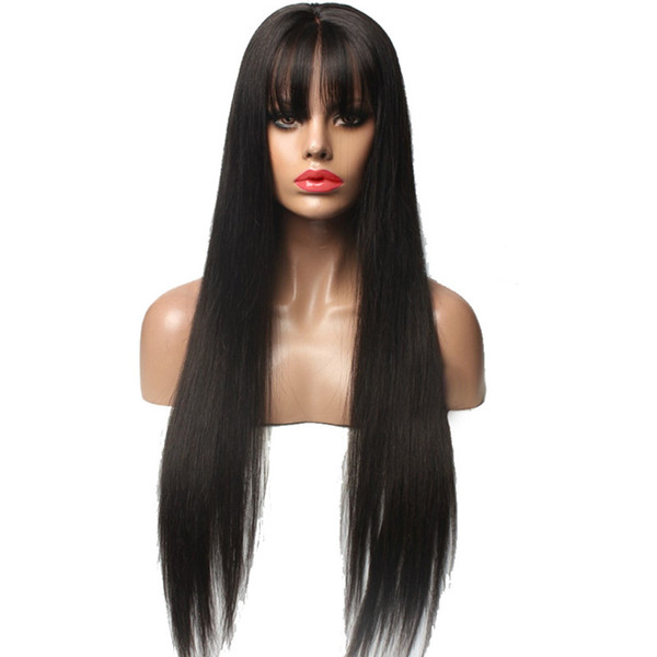 Malaysian Human Hair Straight Silk Base Glueless Full Lace Wigs with Full Bangs Silky Straight Silk Top Lace Front Wigs With Baby Hair