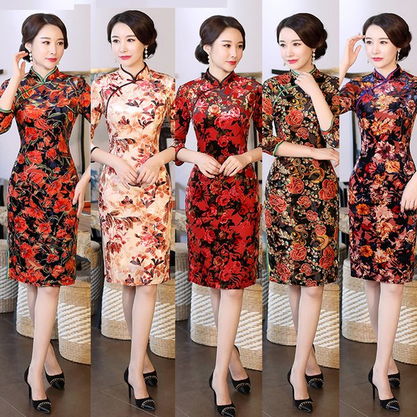 2019 Chinese Dress Cheongsam Dress Qipao Modern Robe Longue Femme  Traditional Costume Oriental Plus Size China Girl Women Dresses From ...